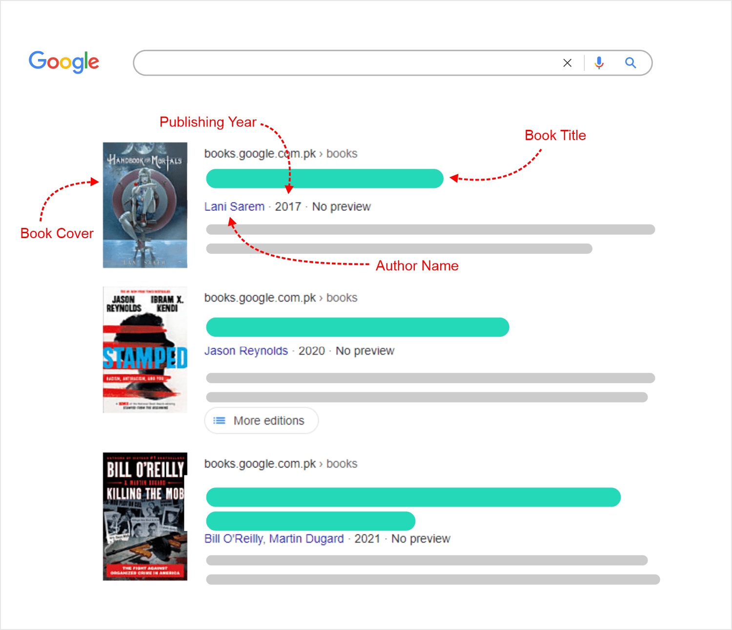 Books Google Search with arrows