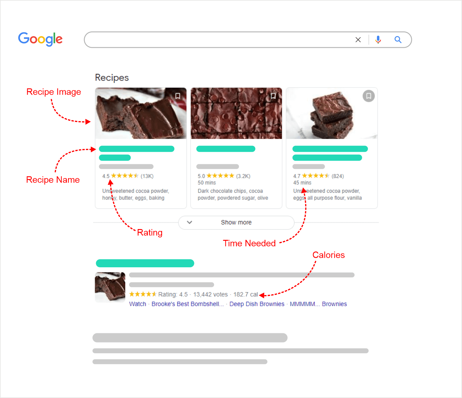 recipes google search with arrows